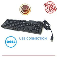 BLACK DELL USB WIRE KEYBOARD L100 OR SK-8115 Genuine OEM - Excellent