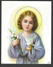 """Catholic Print Picture Holy Child Jesus w/ Lily and Dove 8x10"""" ready to frame"""