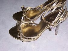 """WILD DIVA Gold 4"""" Stiletto Heels Ankle Strap Open Toe Womens Shoes Size 6.5M"""