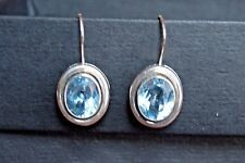 Rare Vintage Silpada Sterling Silver Large Oval Blue Topaz Earrings