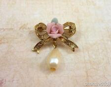 1928 Pink Porcelain Rose Ribbon Bow Faux Pearl Dangle Brooch Pin Gold Tone