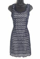 LILLY PULITZER 4 S sleeveless blue dress shift cotton crochet lace over white