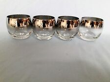 Vtg Mercury Silver Fade Cocktail LARGE Low Ball Roly Poly Glasses Dorothy Thorpe