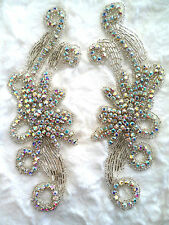 "XR27 Crystal AB Rhinestone Appliques Mirror Pair Motifs 7.5"" Bridal Sash Patches"