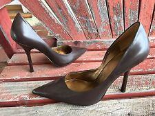 *daRk BRowN LeATheR* SZ 10 Pointy Toe CARRIE Stilettos High Heels PUMP GuESS