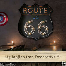 Retro Style Route 66 Mural Cafe Bar Wall LED Light Signboard Iron Art Decoration