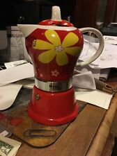 Red Stove top Espresso cuban coffee Maker pot,cappuccino 4 Cup Cafetera Flower