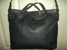 Tommy Hilfiger 6925469 423 Navy Genuine Leather Large Hobo, NWT