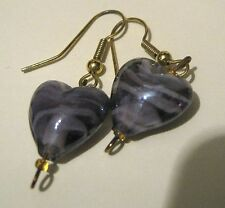 Lovely gold tone metal dangle earring with pretty striated purple hearts