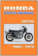HONDA Parts Manual CB750 1969 1970 1971 1972 Replacement Spares Catalog List