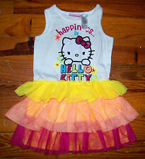 Girls SANRIO White Yellow Orange Pink Hello Kitty Drop Waist Dress Size 3T