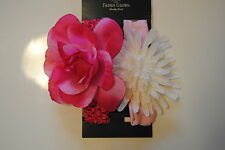 Package of 2 Faded Glory Large Pink & White Flower Headwraps Headbands