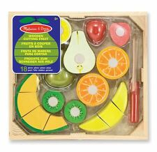 New Melissa & Doug Cutting Fruit Set - Wooden Play Food Kitchen Accessory