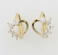 14K Yellow Gold Heart White Huggies Earrings for Baby and Children