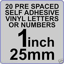 20 x 1 inch or 25mm Self Adhesive Vinyl Letters or Numbers