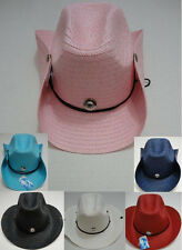 10pc Colored Straw Cowboy Hat Cowgirl Western Hats w/ Snaps BULK WHOLESALE LOT