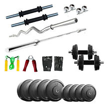 Fitfly Home Gym Set 22Kg Plates with 5Ft Plain 3Ft Curl Rod Gloves Dumbbells