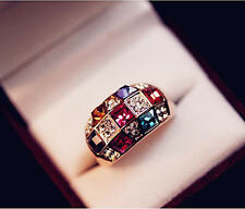 Hot Luxury Women's Lady Colorful Rhinestone Crystal Finger Dazzling Ring Jewelry