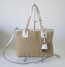 Michael Kors Rosalie Medium Tote Straw White Leather Satchel Handbag