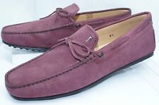 Tod's Men's Red Shoes Lace Mocassin Loafers Drivers Size 7 Purple Suede NIB