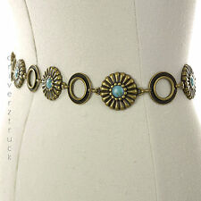 SONOMA Small/Medium GOLD METAL CHAIN BELT Flowers Rings TURQUOISE BEADS S/M