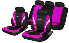 fits NISSAN MICRA Universal Fabric SPORTS Car Seat Covers BLACK & PINK
