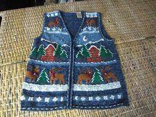 CHRISTMAS Reindeer embroidery embellished crochet SWEATER zip Vest womens M ugly