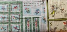 WtW Fabric Quilt Stash Craft Lot 2 Birds Bird Vintage Panel Wall Hanging Country