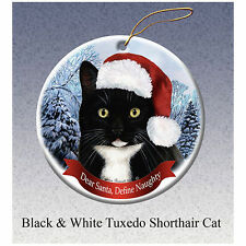 Tuxedo Black and White Cat Howliday Porcelain China Dog Christmas Ornament