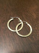 NEW 10K GOLD TEXTURED HOOP EARRINGS  POLISHED HOLLOW HOOPS (1.3x26mm)
