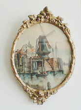 "ANTIQUE OVAL WOOD GOLD GESSO FRAME WITH OLD WATERCOLOR ""HOLLAND"" UNDER GLASS"