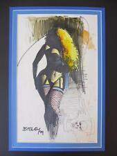 Pin-Up Girl Illustration by Simon Bisley on mixed media - 1999 (Original Art)!!!