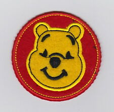 WINNIE THE POOH round Red embroidered Iron/Sew On Patch 2.7""