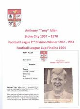 TONY ALLEN STOKE CITY 1957 - 1970 ORIGINAL HAND SIGNED PICTURE CUTTING