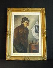 Oil Painting on Canvas of Man In Trench Coat Smoking J. Wessel Listed Artist
