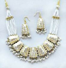 Artisan Crafted Lakh Necklace & Earrings from India White & Gold Moghul Art