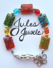 Millefiori & Czech Glass Beads Multicolored Medical Alert ID Bracelet.