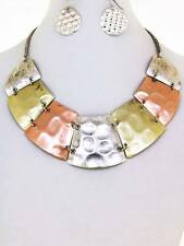 TRI TONE HAMMERED TRAPEZOID SHAPE DISC CLEOPATRA STYLE NECKLACE EARRING
