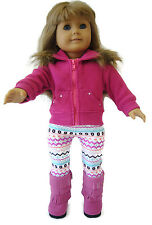 "For 18"" American Girl ; Fuchsia Fur Trim Jacket + Leggings + Boots Doll Clothes"