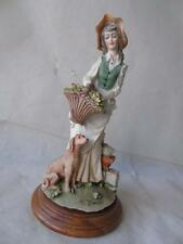 Large Capodimonte Figure of Lady with Basket of Flowers & Dog by Auro Belcari 9""
