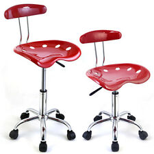 1PC Adjustable Bar Stools ABS Tractor Seat Swivel Chrome Kitchen Breakfast Red