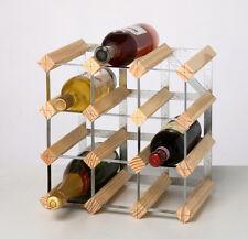 RTA 12 Bottle Traditional Wooden Wine Rack Dark / Natural Pine Self Assemble Kit