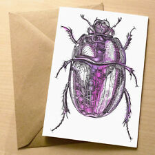 Psychedelic Beetle Blank Art Birthday / Greetings Card – Purple Scarab - 4 for 3