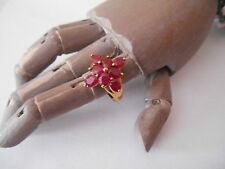 QVC 9k Gold Large Carat Ruby Flower Ring approx 3ct ? Sz J US 5
