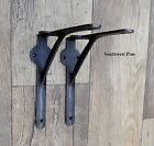 A Pair Of Large Industrial Style Gallows Design Cast Iron Shelf Brackets