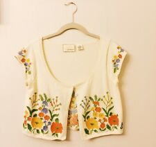 ANthropologie Exquisite Embroidered Guinevere Cropped Cardigan M