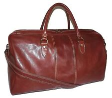 "NEW GIOVANNI ITALIA TUSCAN LEATHER 21"" CARRY-ON SIZE DUFFEL LUGGAGE COGNAC"