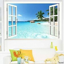 New Large Removable Beach Sea 3D Window Decal Wall Sticker Home Decor-US