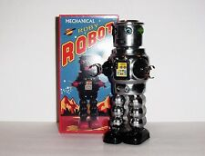 BRAND NEW HA HA TOY CHROME WIND UP MECHANICAL ROBY TIN ROBOT MINT