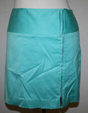 RALPH LAUREN Black Label Turquoise Blue Zip Front Cotton Stretch Skirt 10